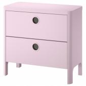 БУСУНГЕ Комод с 2 ящиками, светло-розовый, 80x75 см