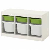 ТРУФАСТ Комбинация д/хранения+контейнеры, белый, зеленый, 99x44x56 см
