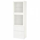 БЕСТО Комбинация д/хранения+стекл дверц, белый, Сельсвикен глянцевый/белый прозрачное стекло, 60x42x193 см