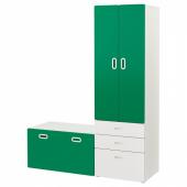 СТУВА / ФРИТИДС Гардероб и скамья с ящиком, белый, зеленый, 150x50x192 см