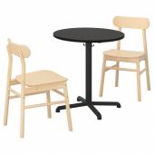 СТЕНСЕЛЕ / РЁННИНГЕ Стол и 2 стула, антрацит, антрацит береза, 70 см