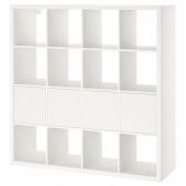 КАЛЛАКС Стеллаж с 4 вставками, белый, 147x147 см