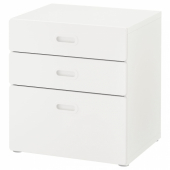 СТУВА / ФРИТИДС Комод с 3 ящиками, белый, белый, 60x64 см