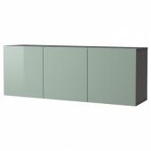 БЕСТО Комбинация настенных шкафов, черно-коричневый, Сельсвикен глянцевый/серо-зеленый светлый, 180x42x64 см