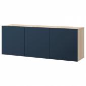 БЕСТО Комбинация настенных шкафов, под беленый дуб, Нотвикен синий, 180x42x64 см