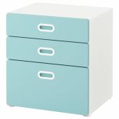 СТУВА / ФРИТИДС Комод с 3 ящиками, белый, голубой, 60x64 см