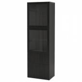 БЕСТО Комбинация д/хранения+стекл дверц, черно-коричневый, Лаппвикен черно-коричневый прозрачное стекло, 60x42x193 см
