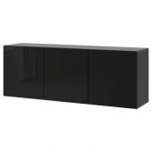 БЕСТО Комбинация настенных шкафов, черно-коричневый, Сельсвикен глянцевый/черный, 180x42x64 см