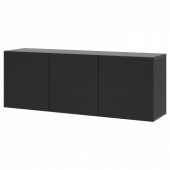 БЕСТО Комбинация настенных шкафов, черно-коричневый, Стокквикен антрацит, 180x42x64 см