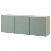 БЕСТО Комбинация настенных шкафов, под беленый дуб, Нотвикен серо-зеленый, 180x42x64 см