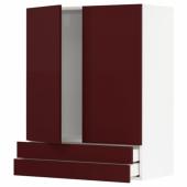МЕТОД / МАКСИМЕРА Навесной шкаф/2дверцы/2ящика, белый Калларп, глянцевый темный красно-коричневый, 80x100 см